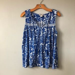 Lucky Brand Printed Tank Embroidered with Tassels